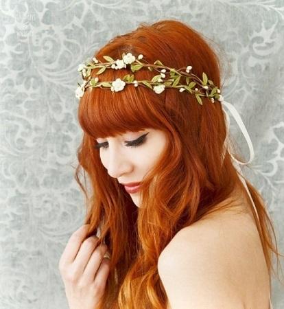 結婚式花冠髪型