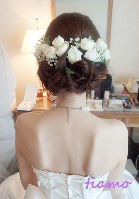 結婚式花嫁ギブソンタック