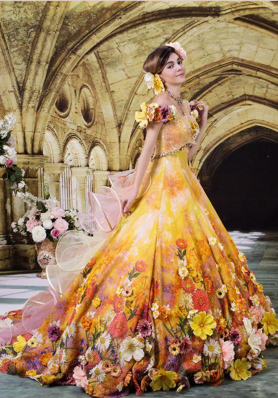 11フラワーウェディングドレス