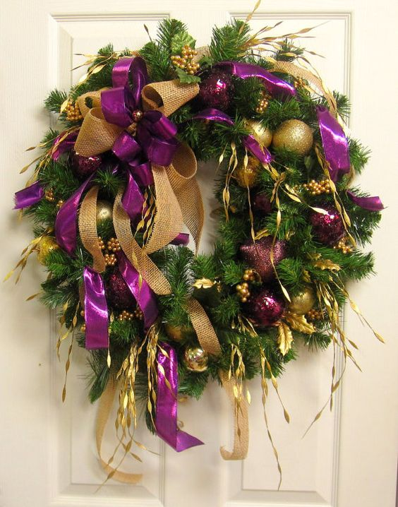 161パープル紫クリスマスリース