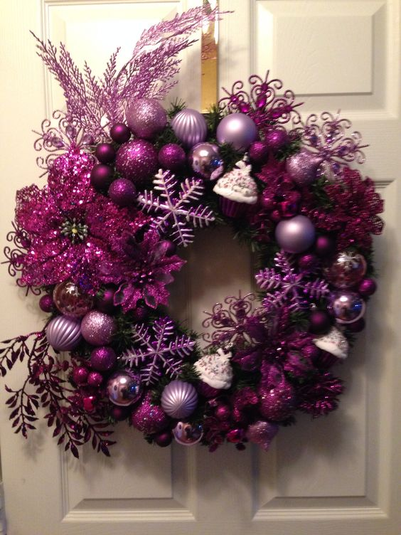 211パープル紫クリスマスリース