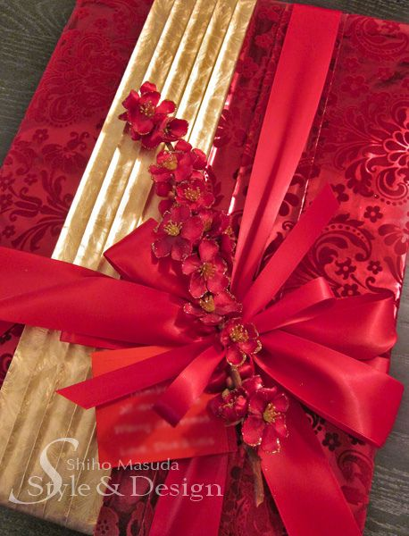 3クリスマス赤ラッピングアイデア