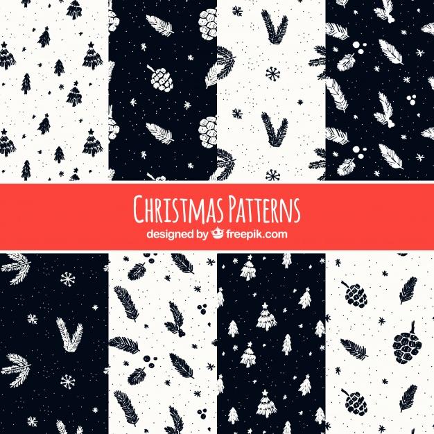 12黒ブラッククリスマスラッピングペーパー包装紙無料パターン素材