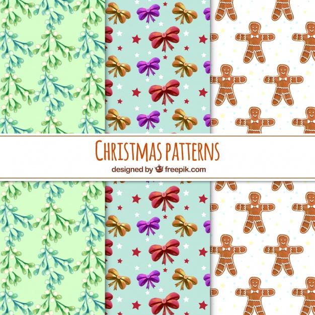 15水彩アートクリスマスラッピングペーパー包装紙無料パターン素材