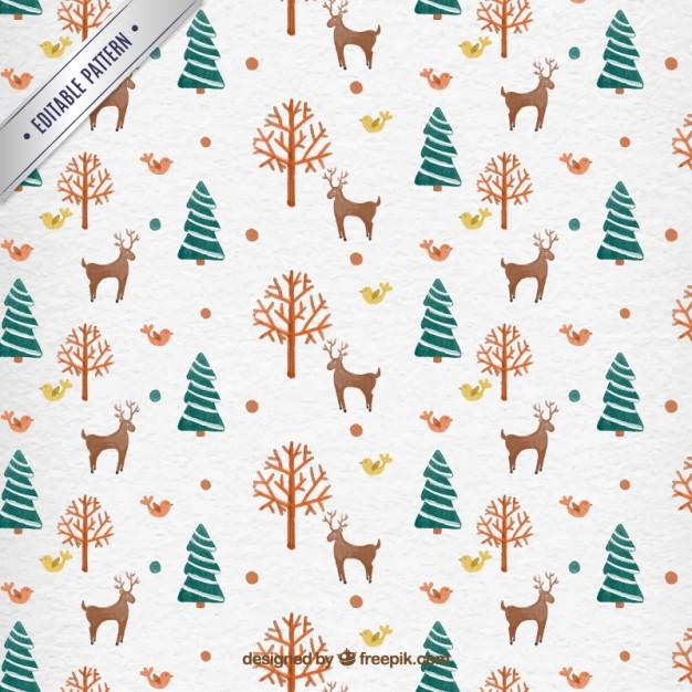 26水彩アートクリスマスラッピングペーパー包装紙無料パターン素材
