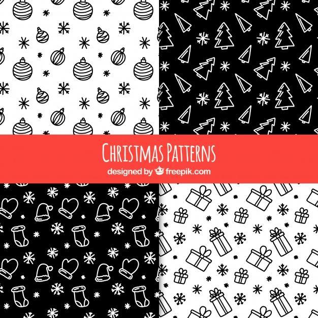 7黒ブラッククリスマスラッピングペーパー包装紙無料パターン素材
