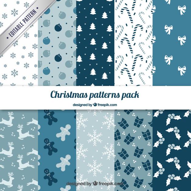 9水色クリスマスラッピングペーパー包装紙無料パターン素材