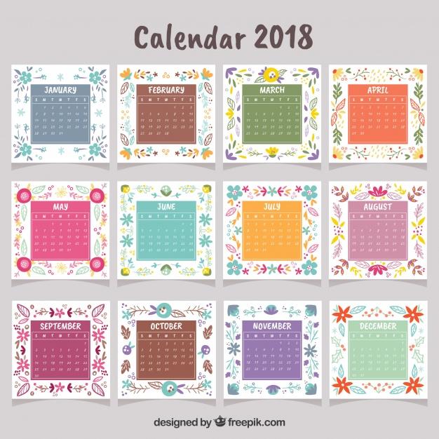 132018年カレンダー無料ダウンロード素材