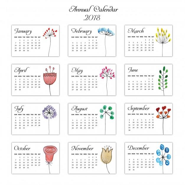 262018年カレンダー無料ダウンロード素材