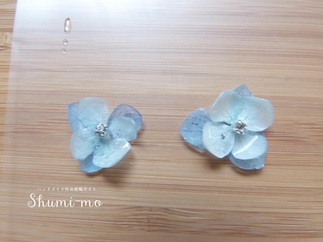 花びら二重のあじさいレジンピアスの作り方16