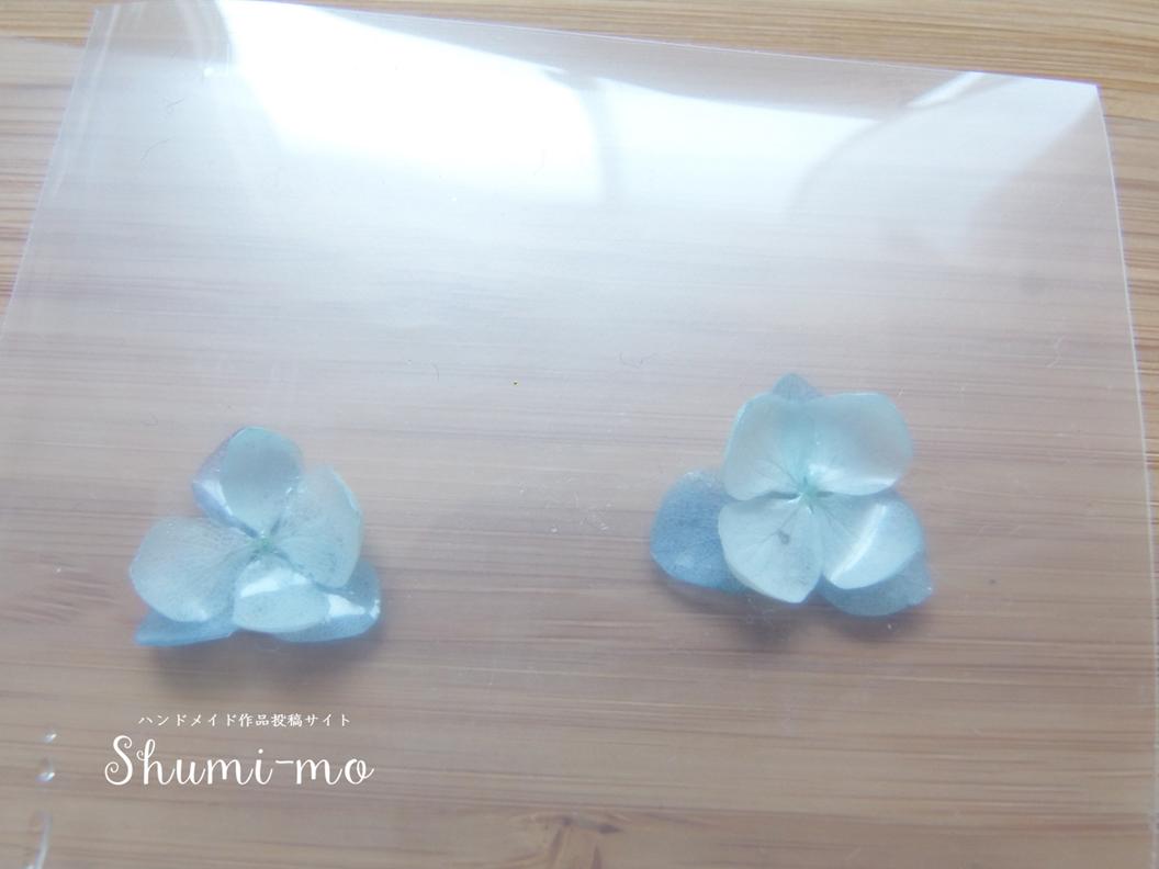 花びら二重のあじさいレジンピアスの作り方13