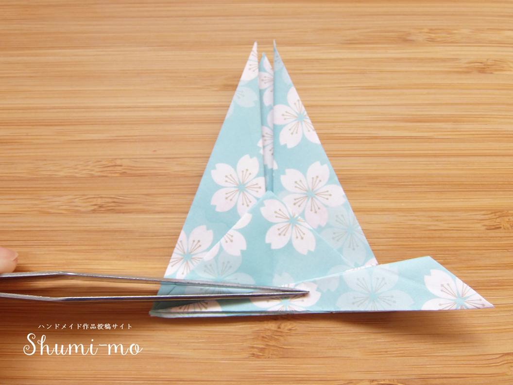 折り鶴席札カードホルダーの作り方20