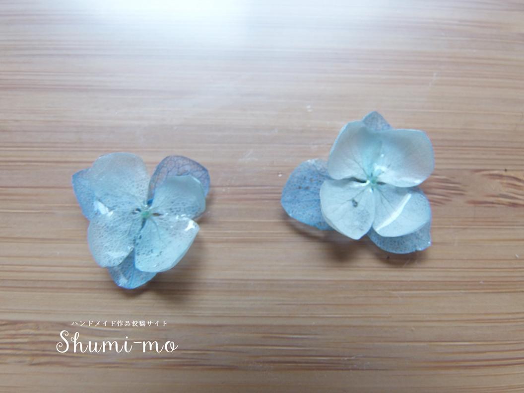 花びら二重のあじさいレジンピアスの作り方14